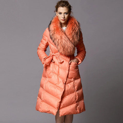 Fur collar belted knee-length down coats