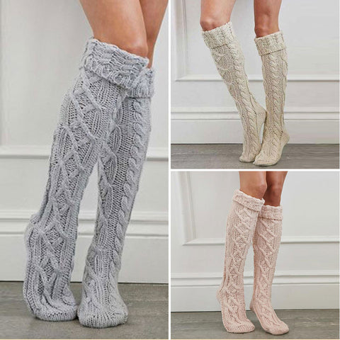 3 pairs knee high cable knit stockings