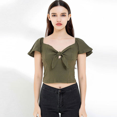 Flare sleeve square neck bowknot crop tops