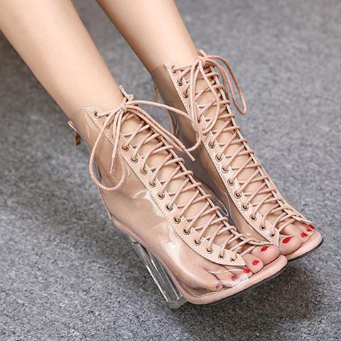 Lace-up fastening transparent sandals