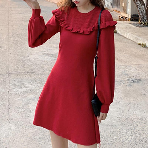 Lettuce long sleeve knitted dresses