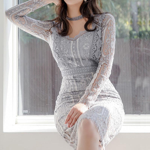 Transparent lace openwork high waist bodycon dresses