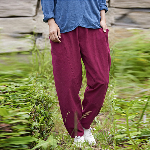 Linen tapered pants with pockets - Fancyever