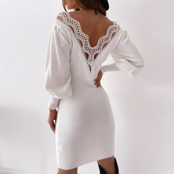 V-neck lace pachwork backless dresses
