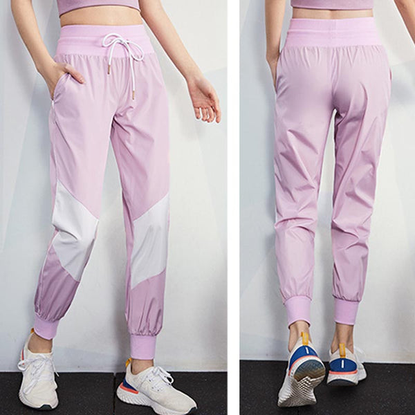 Color block drawcord fitness harem pants