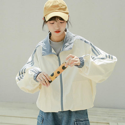 Oversize mock neck side line jackets