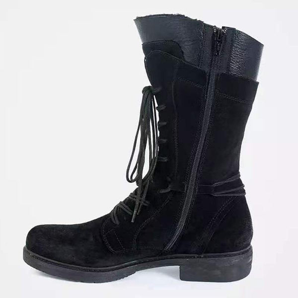 Lace-up PU leather fur winter boots