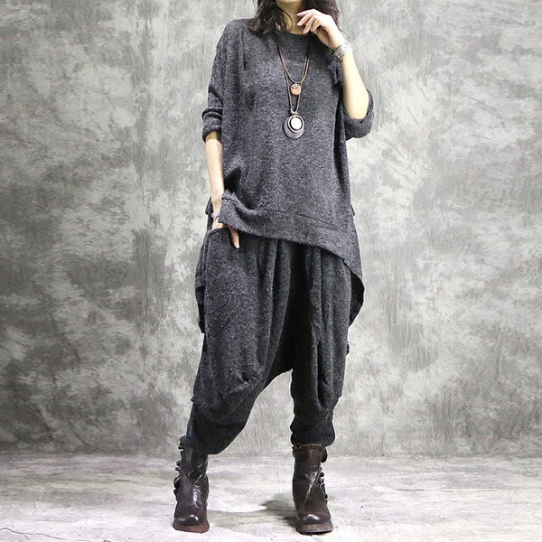 Crew neck loose knitted pant suits