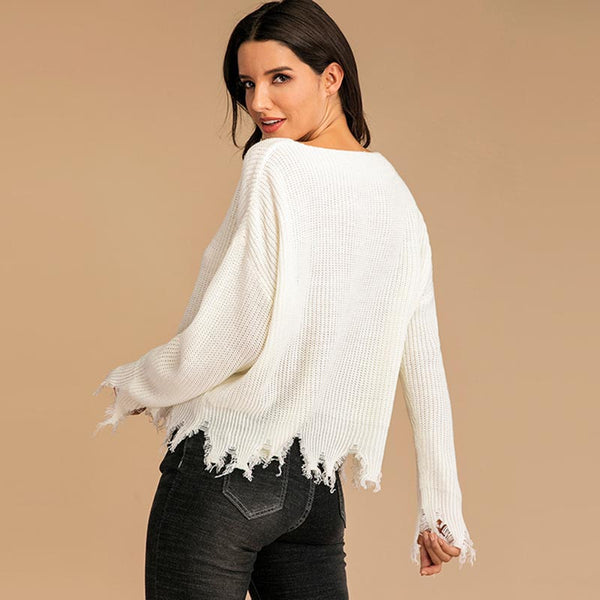 Solid chic tassel flare sleeve sweaters
