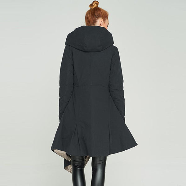 Reversible hooded asymmetric down coats
