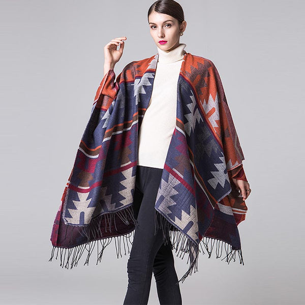 Retro thick geometric tassel shawls scarves - Fancyever