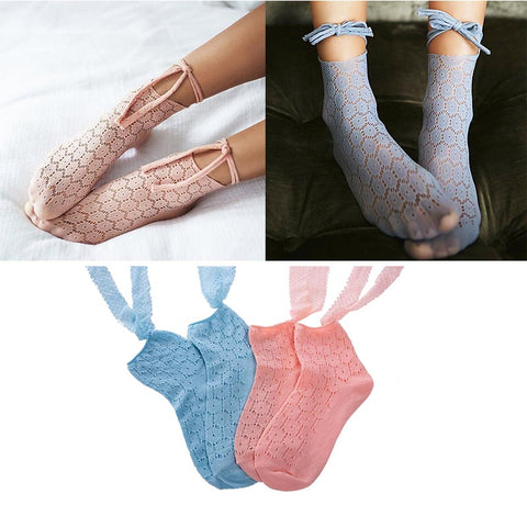 4 pairs lace openwork tied ankle socks