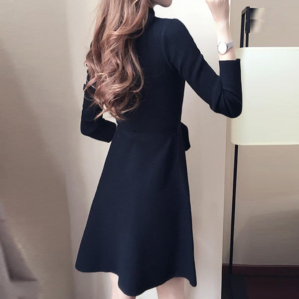 Brief high waisted a line sweater dresses