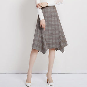Plaid high waisted irregular skirts - Fancyever