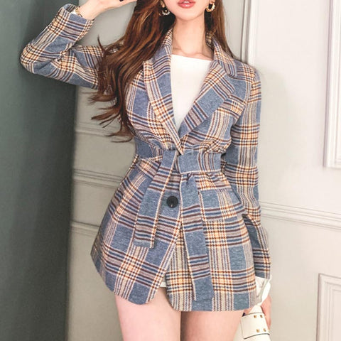Lapel single breasted plaid blazers