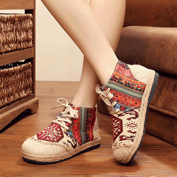 Embroidered ethnic slip-resistant shoes