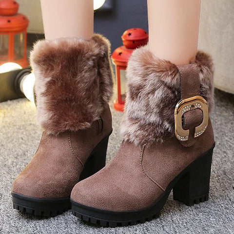 Suede metal buckle stylish fur winter boots