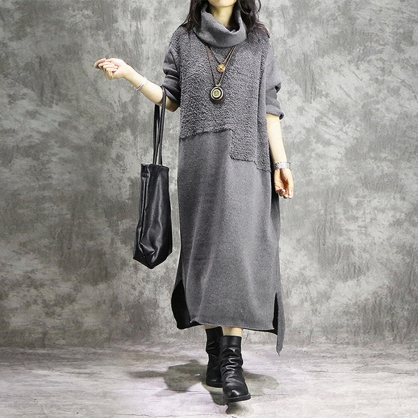 Cowl neck knitted patchwork dresses - Fancyever