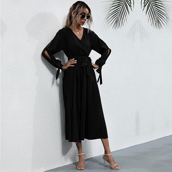 High gathered waist solid maxi dresses