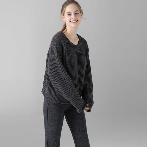 Crew neck ribbed loose sweaters - Fancyever