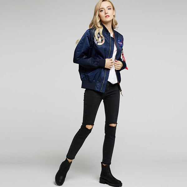 Embroidered patch zippered bomber jackets - Fancyever