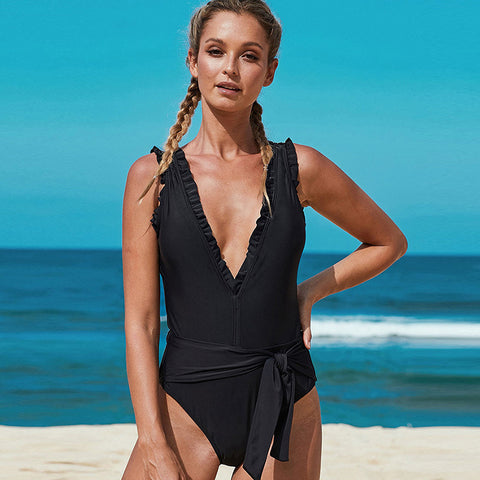 Plunging ruffled side tie one-piece swimwear