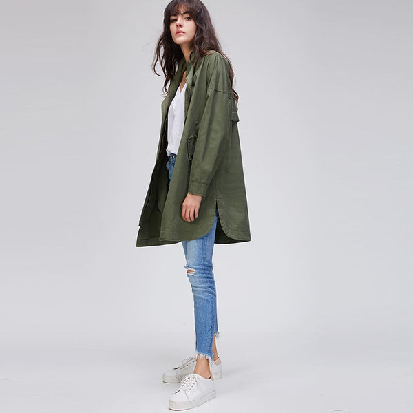 Stand collar side-slit trench coats - Fancyever
