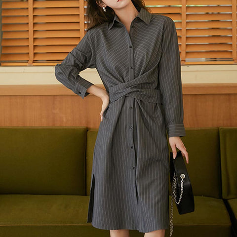 Stripe single breast wrap shift dresses