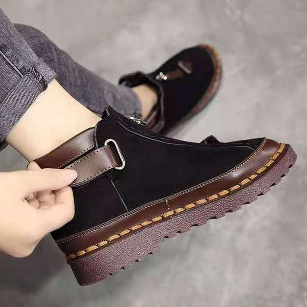Leather buckle rounded toe ankle boots