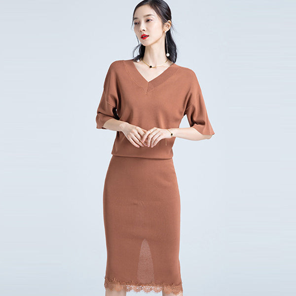 Half sleeve v-neck knitted skirt suits - Fancyever