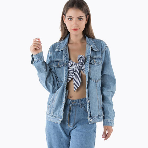 Pure color denim loose jackets - Fancyever