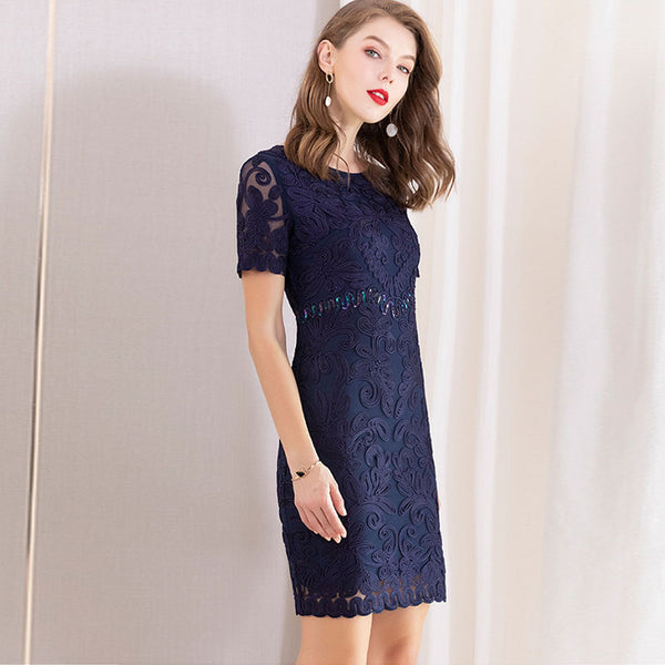 Elegant embroidered bodycon plus size dresses - Fancyever