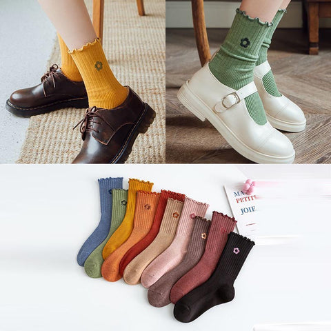 10 pairs solid color loose ankle socks