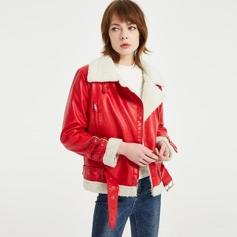 Moto biker short faux leather sherpa jackets - Fancyever