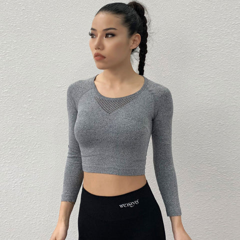Openwork breathable cropped active tops