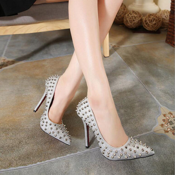 Punk rivet low fronted high heels