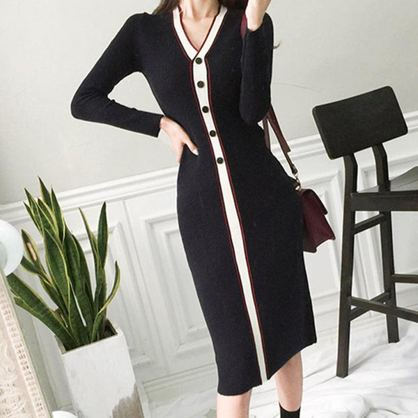 Color block patchwork knee-length knitted dresses