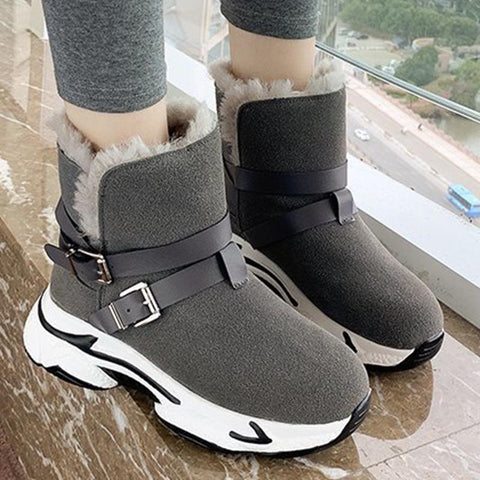 Suede cold-resistant pin-buckle fur snow boots