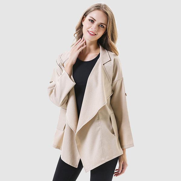 Irregular lapel short drape trench coats