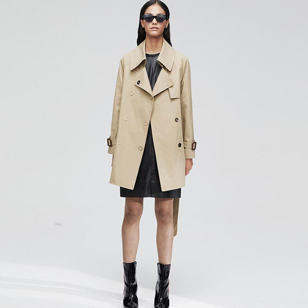 Notch collar belted trench coats - Fancyever