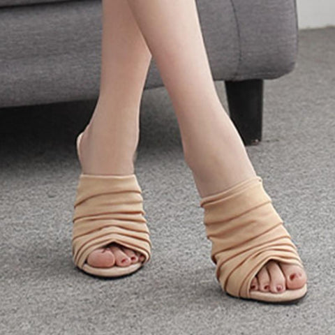 Peep toe mesh ruched slippers