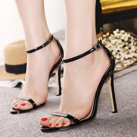 Open toe solid color ankle strap sandals