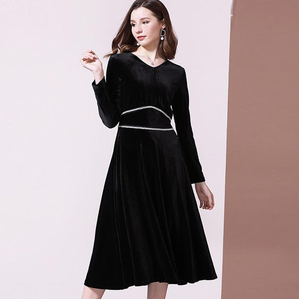Color-blocked velvet slim midi dresses - Fancyever