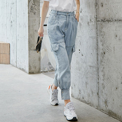 High waist jean cargo pants - Fancyever