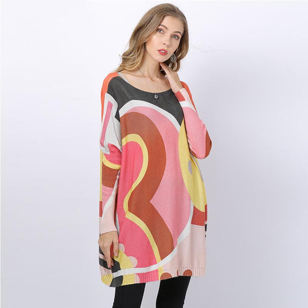 Plus size colorblock print loose sweaters - Fancyever