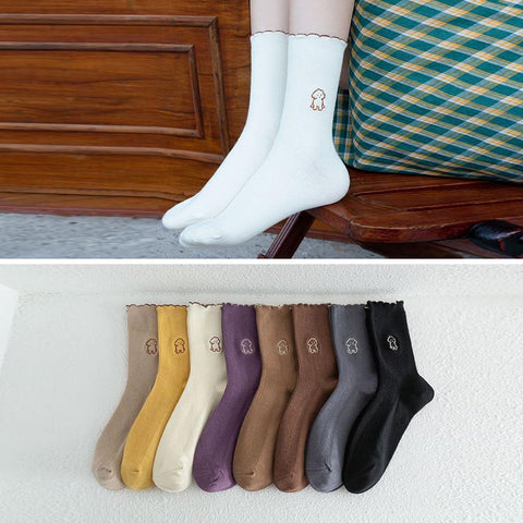 10 pairs solid color animal print ankle socks