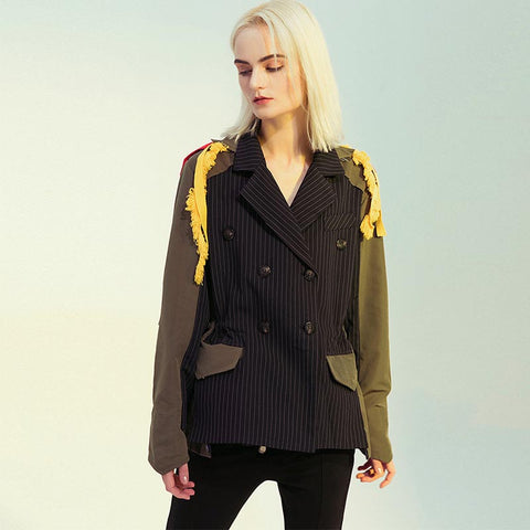 Striped patchwork color-blocked fringed coats