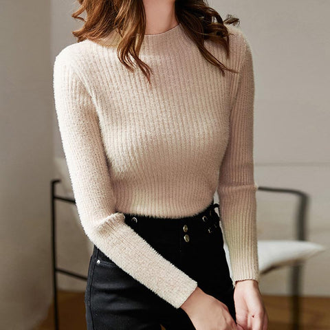Basic half-collar solid soft knit tops