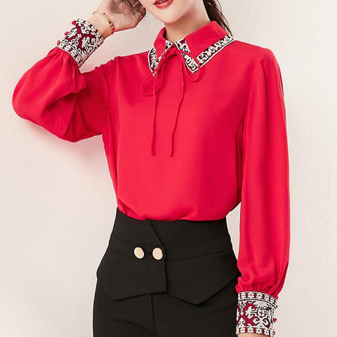 Patchwork embroidered chiffon blouses