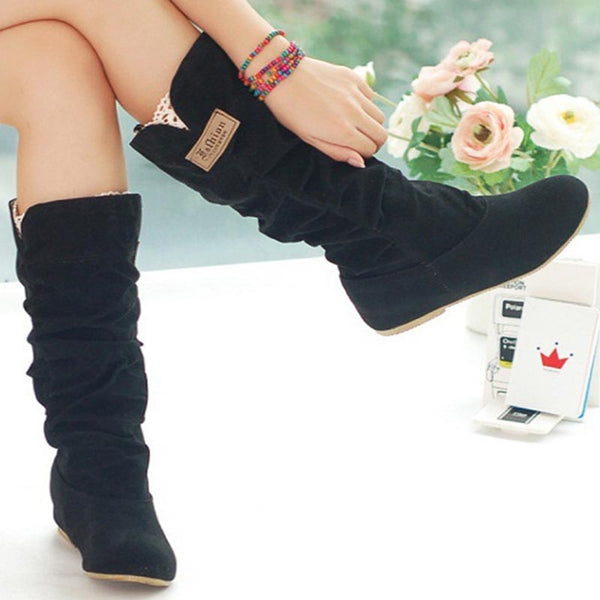 Suede cold-resistant solid chic boots